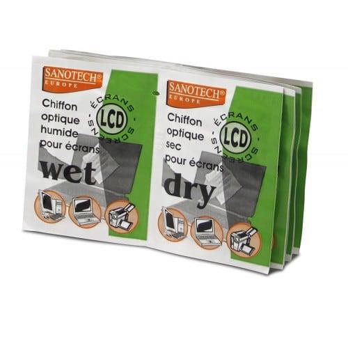 Dépoussiérant antistatique SANOTECH - Lingettes tous écrans (12 humides + 12 sèches)
