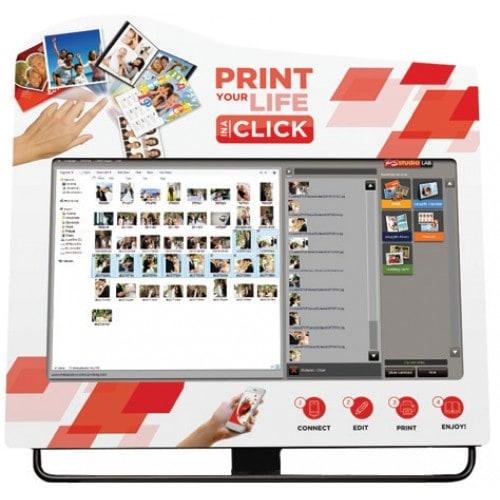 """Borne (sans imprimante) MITSUBISHI COUNTER FLEXILAB SFF pour utilisation sur meuble PDT8020 Ecran Multitouch 23"""" + mini PC (SFF)"""