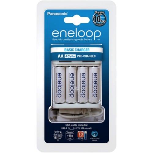 PANASONIC - Chargeur ENELOOP USB de voyage (Recharge 4 piles LR6 ou LR03 non fournies)