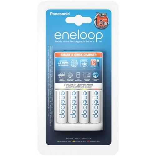 PANASONIC - Chargeur ENELOOP Smart & Quick + 4 accus LR6 1900mAh (Recharge 4 piles LR6 ou LR03)