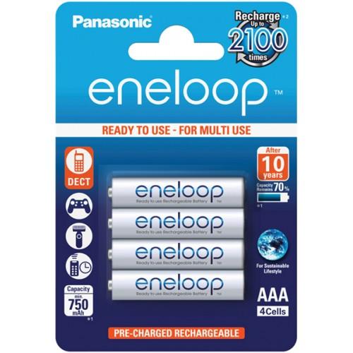 PANASONIC - Piles rechargeables ENELOOP LR03 (AAA) NiMH 750mAh Blister de 4 piles