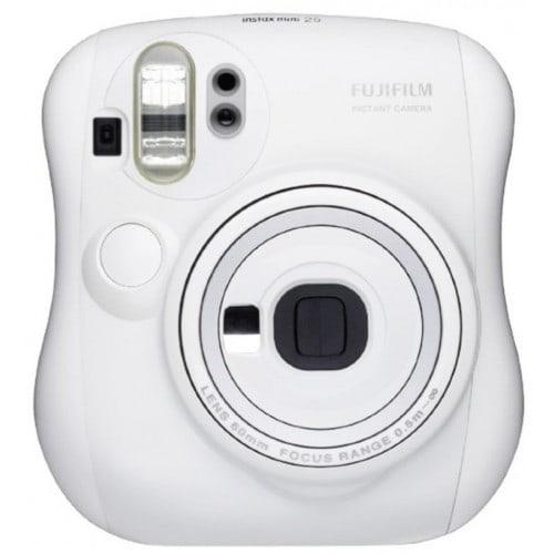 FUJI - Appareil photo instantané Instax Mini 25 - Format photo 62x46mm - Livré avec 2 piles CR2 et dragonne - Dim. (L)112x(H)121x(P)60,6mm - Blanc