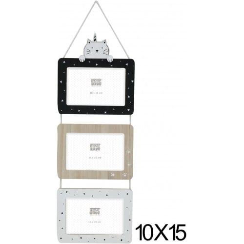 S67TS1 P3 - multivue 3 couleurs à suspendre - pour 3 photos 10x15cm horizontales