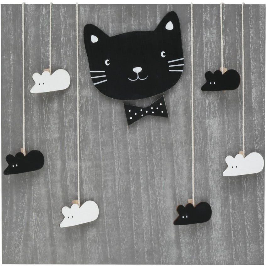 Panneau bois gris chat & souris avec 6 pinces suspendues - 40x40cm