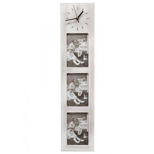 Cadre photo DEKNUDT S67TK E3 - bois + horloge - pour 3 photos 10x15cm