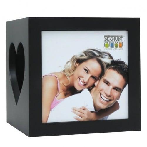 S68HF pour 2 photos 7x8cm - Bois - Livré avec 1 bougie LED
