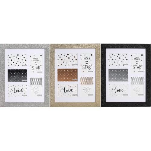 ''Céleste'' - Multivues bois paillettes pour 5 photos 10x15cm - noir, argent ou or