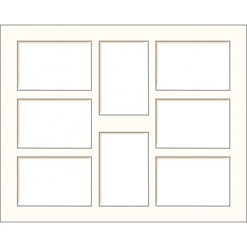 BRIO - Passe partout - Format extérieur 40x50cm - Multi-vues (8 fenêtres 10x15cm) - Blanc cassé