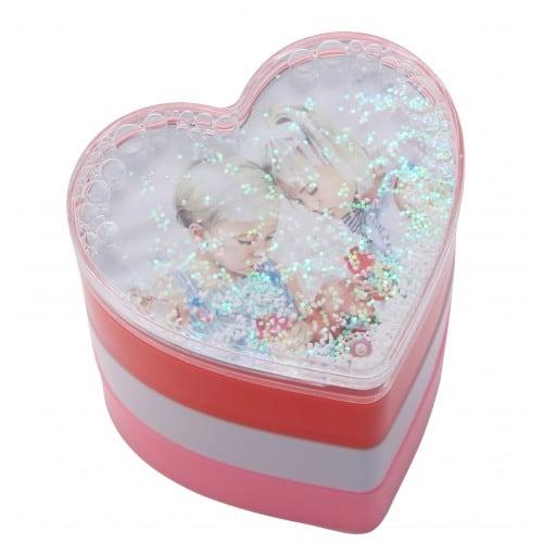 Boîte cadre photo TECHNOTAPE forme cœur 3 en 1 (blanche, rose et rouge) - 98x90x110mm - Décor eau + paillettes argent