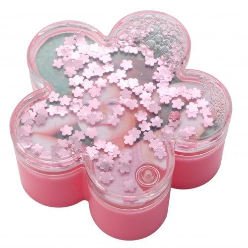 Boîte cadre photo TECHNOTAPE forme fleur - Rose - 100x100x48mm - Décor eau + paillettes fleurs roses