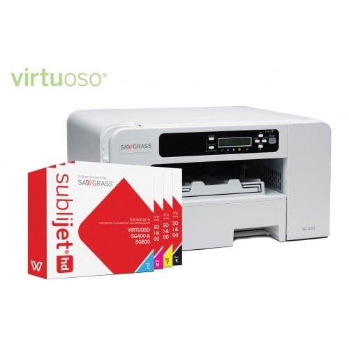 Imprimante sublimation SAWGRASS A4 Virtuoso SG 400 pour transfert avec encres Sublijet (livrée avec un jeu d'encre 29ml/couleurs