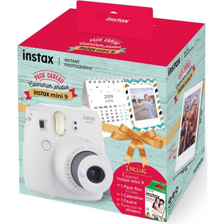 "Instax Mini 9 ""Smoky White Calendar Pack"" : Appareil instantané Blanc cendré + 1 monopack mini (10v) + 1 feutre Instax + 1 calen"