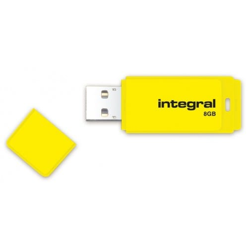 Clé USB 2.0 INTEGRAL Flash Drive Néon 8 GB (Jaune)