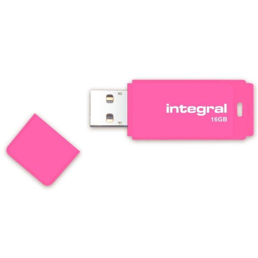 Clé USB 2.0 INTEGRAL Flash Drive Néon 16 GB (Rose)