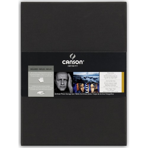 CANSON - Boites d'archives Portfolio pour photos A4 (21x29,7cm) - dim. intérieurs : 22,5x31x3,5cm