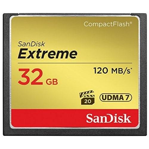 Carte mémoire Compact Flash SANDISK CompactFlash Extrême Classe 10 (120Mo/s   800x) 32 GB