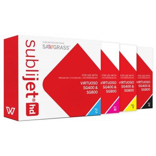 Encre sublimation SAWGRASS Sublijet Kit 4 couleurs : noir 42ml, cyan 29ml, magenta 29ml & jaune 29ml - Pour Sawgrass SG400 & SG8