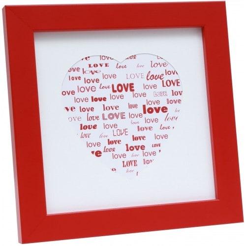 DEKNUDT - Cadre photo S45SK LOVE (bois) avec passe partout blanc forme coeur