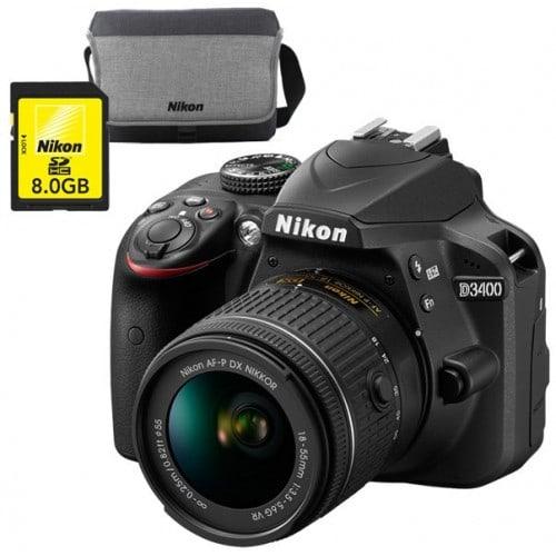 Appareil reflex numérique NIKON D3400 boitier + optique AF-P DX 18-55mm VR - rafale 5 img./s - écran 7,5cm -