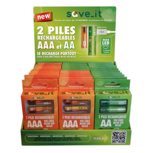 Présentoir piles rechargeables USB (15 x 2xAAA + 15 x 2xAA) *