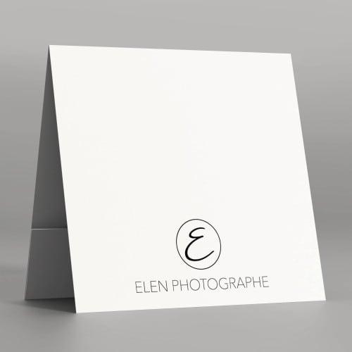 Pochette à rabat papier blanc satiné 350g  - Impression extérieure et intérieure