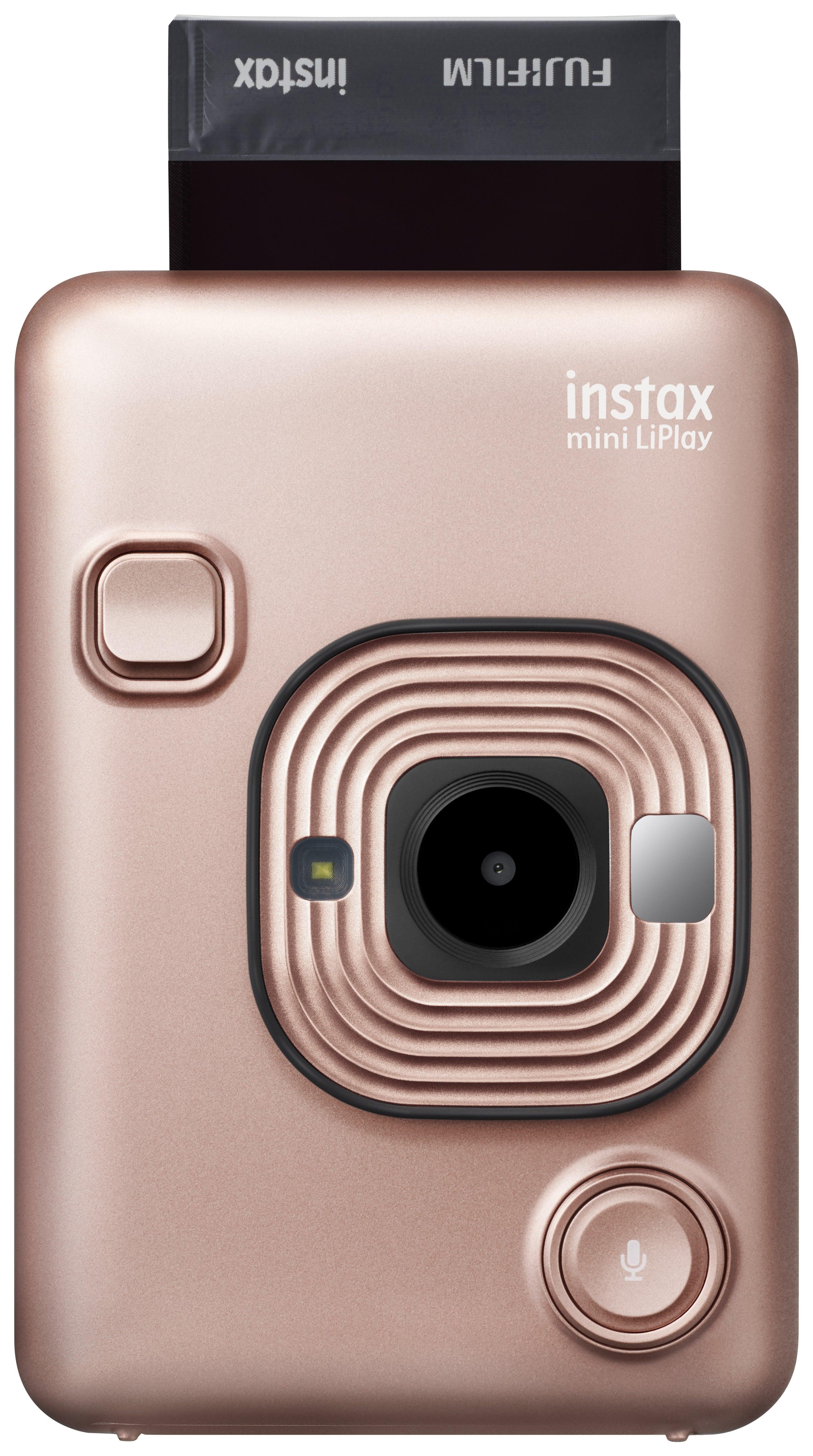 FUJI - Appareil photo instantané Instax Mini LiPlay Rose Doré - Format Photo 86 x 54 mm - Livré avec 1 batterie, chargeur et dragonne