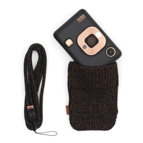 Instax Mini LiPlay Elegant Black Bundle- Format Photo 86x54 mm - Livré avec 1 batterie, chargeur + étui laine