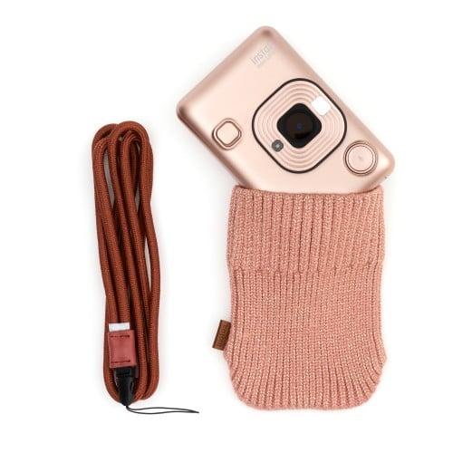 FUJI - Appareil photo instantané Instax Mini LiPlay Rose Doré - Format Photo 86 x 54 mm - Livré avec 1 batterie, chargeur, chargeur + étui laine