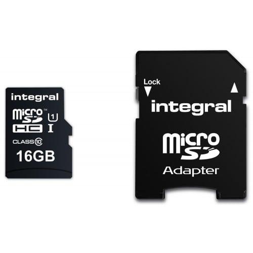 INTEGRAL - Carte mémoire SD micro SDHC UltimaPro Classe 10 (90 Mo/s) 16GB (+ adaptateur SD)