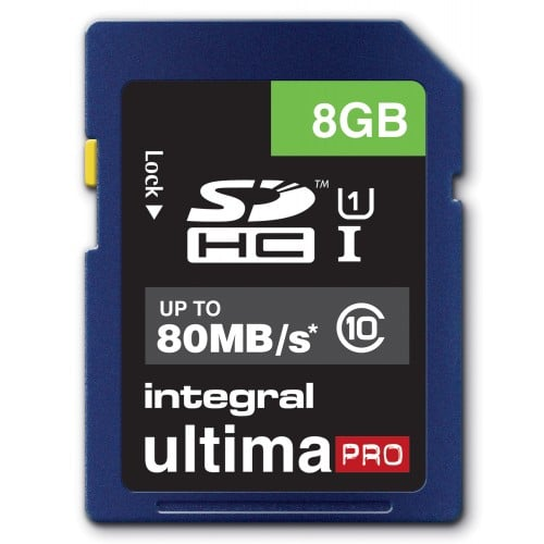 Integral Carte SD HC 8GB Ultima Pro Full HD Class 10 (80MB/s) *