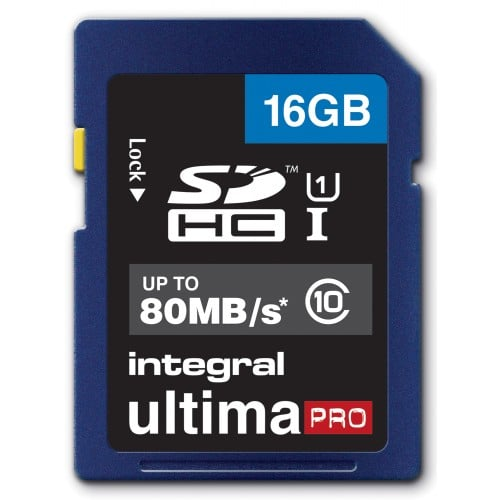 INTEGRAL - Carte mémoire SD HC Classe 10 - 16GB Ultima Pro Full HD (80MB/s)