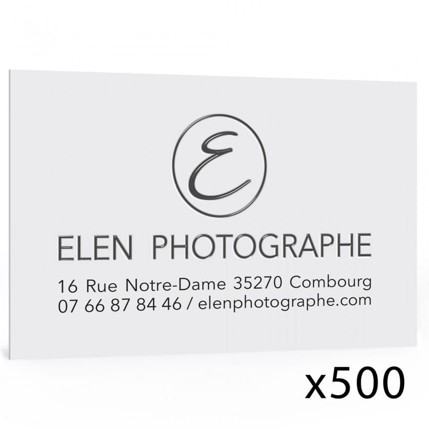 Carte de visite 85x55mm  impression quadri vernis sélectif (lot 500)*