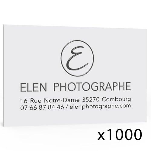 Cartes de visite 350g satiné - 85x55mm - Impression recto quadri - Vernis sélectif - Pelliculage soft touch - Lot de 1000