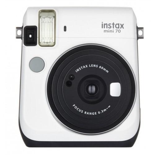 FUJI - Appareil photo instantané Instax Mini 70 - Format photo 62x46mm - Livré avec 2 piles lithium CR2 - Dim. (L)99,2x(H)113,7x(P)53.2mm - Blanc