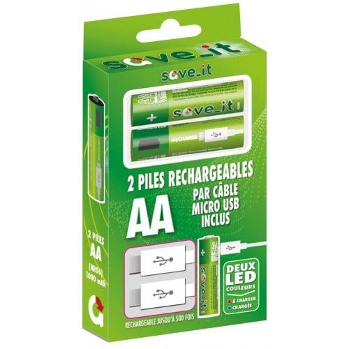 Piles rechargeables en micro USB LR6 1000mAh (blister 2) *