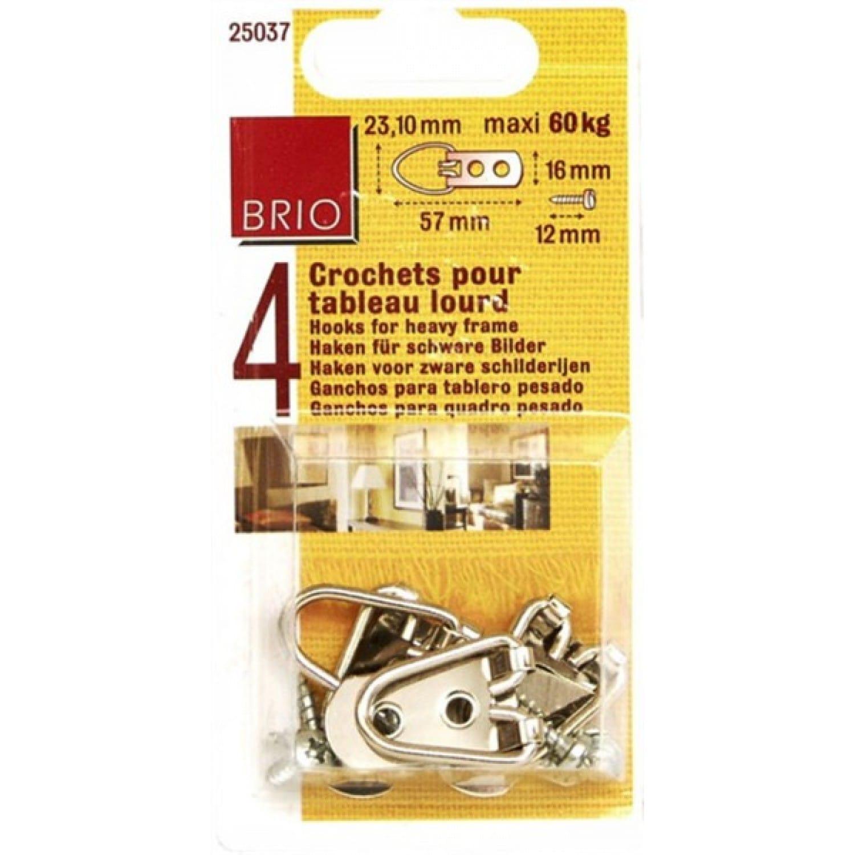 Crochet Pour Tableau Lourd brio - crochet de suspension pour tableau lourd - boite de 4