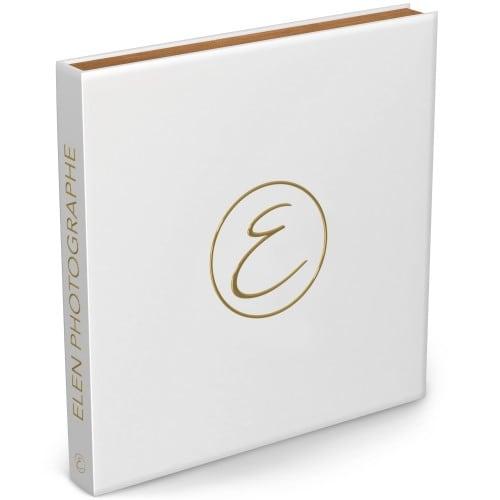 Coffret cadre bois avec Cracblock 24 pages blanches (12 feuillets) - Couverture impression avec Dorure Or