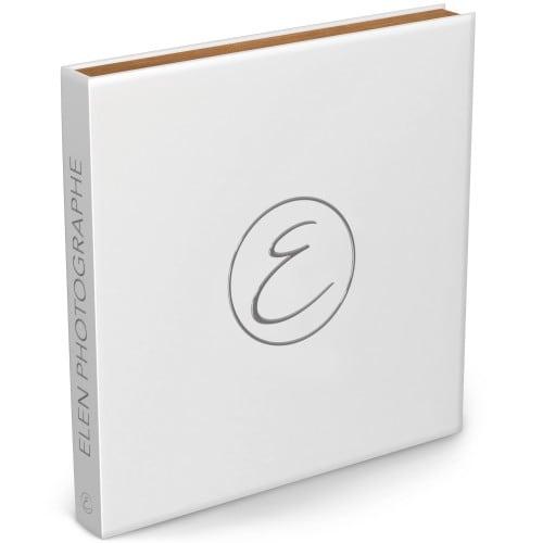 Coffret cadre bois avec Cracblock 48 pages blanches (24 feuillets) - Couverture impression avec Dorure Argent