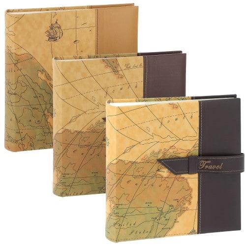 ERICA - Carnet de voyage pochettes avec mémo TRAVEL 2 - 100 pages blanches - 200 photos - Couverture aléatoire 24,5x24cm - à l'unité