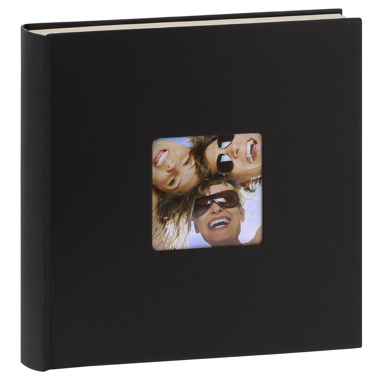 WALTHER DESIGN - Album photo traditionnel FUN - 100 pages blanches + feuillets cristal - 400 photos - Couverture Noire 30x30cm + fenêtre