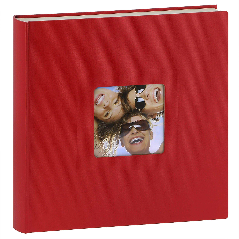 WALTHER DESIGN - Album photo traditionnel FUN - 100 pages blanches + feuillets cristal - 400 photos - Couverture Rouge 30x30cm + fenêtre