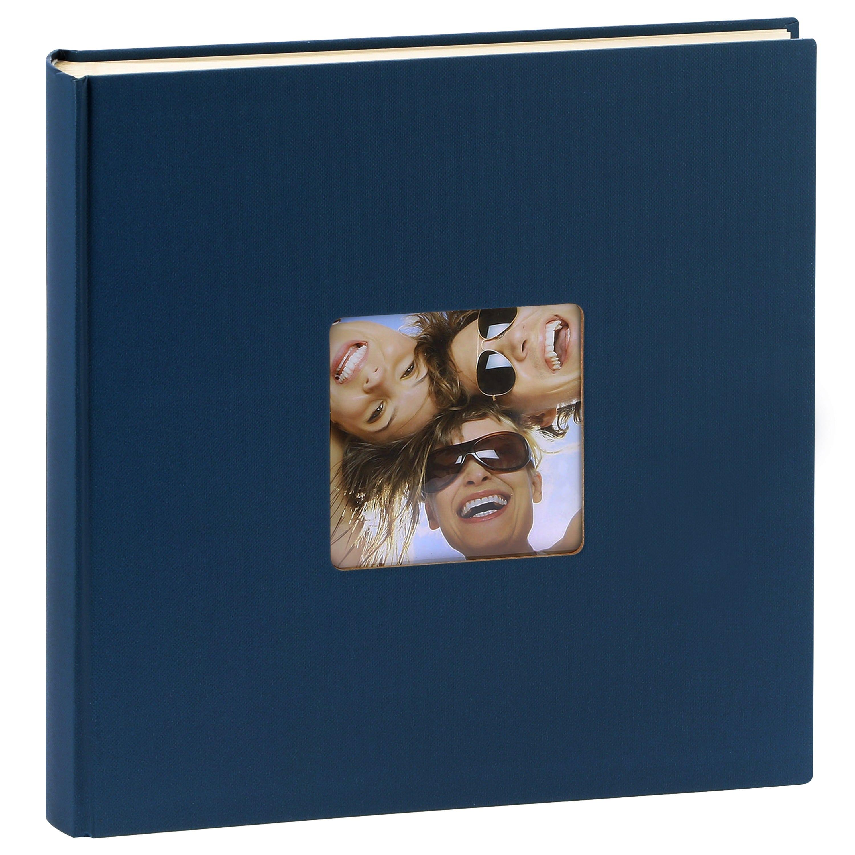 WALTHER DESIGN - Album photo traditionnel FUN - 100 pages blanches + feuillets cristal - 400 photos - Couverture Bleue 30x30cm + fenêtre