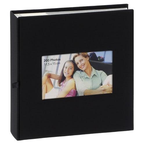 pochettes avec mémo ERICA SQUARE - 100 pages blanches - 200 photos - Couverture Noire 23,5x25cm