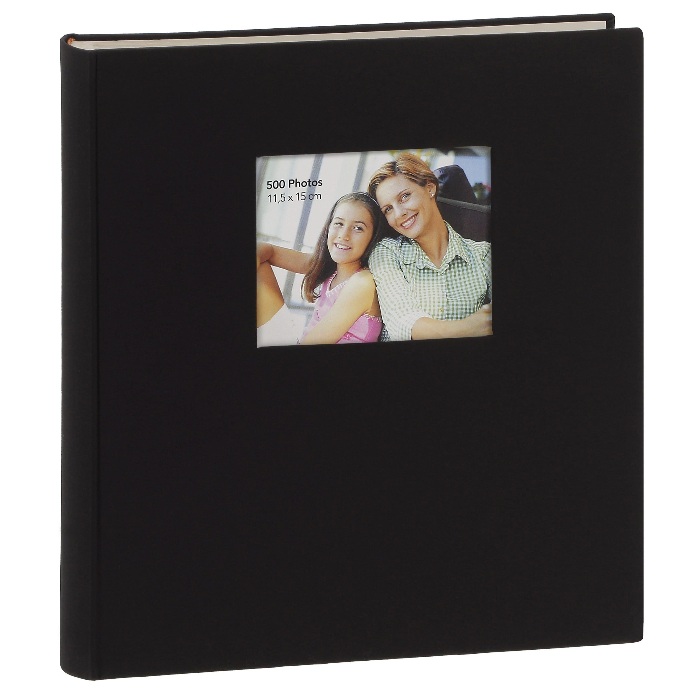 ERICA - Album photo pochettes avec mémo SQUARE - 100 pages blanches - 500 photos - Couverture Noire 36x36,5cm + fenêtre