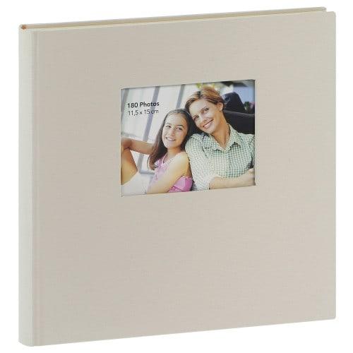 ERICA - Album photo adhésif SQUARE - 60 pages blanches - 300 photos - Couverture Beige 34x33cm + fenêtre