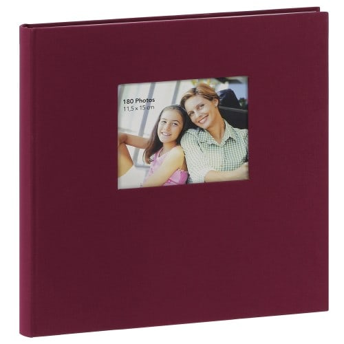 ERICA - Album photo adhésif SQUARE - 60 pages blanches - 300 photos - Couverture Bordeaux 34x33cm + fenêtre