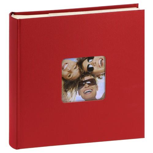 WALTHER DESIGN - Album photo pochettes avec mémo FUN - 100 pages blanches - 200 photos - Couverture Rouge 22x24cm + fenêtre
