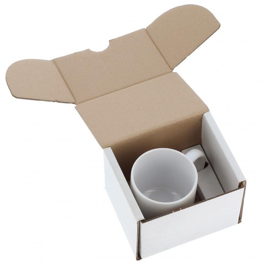 Emballage TECHNOTAPE - Boîte blanche carton pour Mug 330ml (11oz) et pour expédition du produit fini
