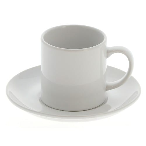 et soucoupe blanches en céramique pour sublimation - 180 ml - vendue à l'unité