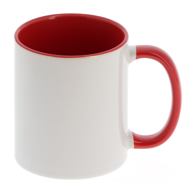 Mug céramique 330ml (11oz) - Blanc/poignée et intérieur rouge - Qualité AAA - Diamètre 82mm